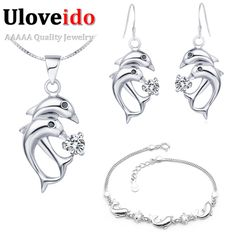 Find More Jewelry Sets Information about Free Shipping Ladies Necklace and Earrings Set Jewelry Sets Girls Ladies Bracelets Sliver Earrings Dolphin Pendent Uloveido T159,High Quality necklace brush,China necklace friendship Suppliers, Cheap necklace anime from Uloveido Official Store on Aliexpress.com