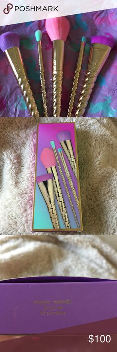 🦄💕Tarte Unicorn Magic Wands Brush Set🦄💕 •Yes, 100% Authentic & NEW •Yes, come with box & Unicorn Paper •Yes, sold out online  •❌NO TRADES❌ •❌NO LOWBALL OFFERS!❌  The Magic Wands Brush Set is particularly exciting: You get five plush brushes with pastel bristles and gilded unicorn-horn handles, for all your face powder, eyeshadow, contour, and liquid foundation needs. Whimsical and practical.  **You will also get some free goodies with your order!!** tarte Makeup Brushes & Tools
