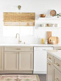 Taupe Kitchen Cabinets, White Kitchen Appliances, Kitchen Cabinet Colors, Painting Kitchen Cabinets, Floors Kitchen, Kitchen Countertops, Kitchen White, Quartz Countertops, Thomasville Kitchen Cabinets