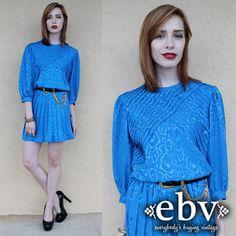 #Vintage #80s Blue #Secretary Mini Day #Dress S M L by #shopEBV http://etsy.me/18Z2fo2 via @Etsy #etsy #style #fashion, $36.00