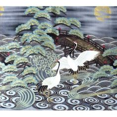 Japanese cranes quilting fabric