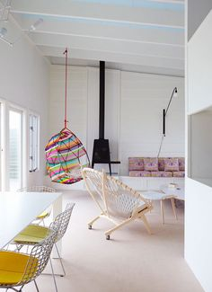 This interior is from Alexandra ANGLE Interior DESIGN. OMG, I want that striped chair!