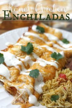 Ranch Chicken Enchiladas Recipe ~ Creamy ranch enchiladas topped with cheese and baked to perfection! Says: The flavor combination of the ranch and salsa was delicious and the ranch drizzled on top was perfect!