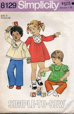 Simplicity 8129 1970s Toddlers Dress Top and Pants girls vintage sewing pattern simple to sew by mbchills