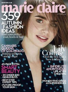 Cover duty: Lily Collins for Marie Claire UK Magazine Oct 2014