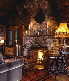Fireplace designs for cabins and cottages are what dreams are made of. Few things are as magical and comforting as relaxing beside a crackling fire in a cozy cabin hearth! Small Log Cabin Plans, Log Cabin Kits, Log Cabin Homes, Log Cabins, Rustic Cabins, Rustic Cottage, Cabin Fireplace, Fireplace Design, Stone Fireplace Pictures