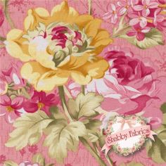 """Rosemont Gazebo 02280-24 Rosemont Tea Rose By E. Vive For Benartex: Rosemont Gazebo is a collection by E. Vive for Benartex.  100% cotton.  43/44"""" wide.  This fabric features large pink and yellow rose bouquets on a pink background."""