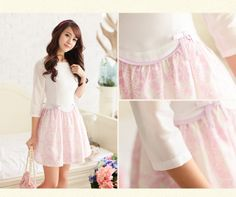 . Wood home sweet bow Slim Sleeve Dress spring fresh printing organza pleated skirt -- $29