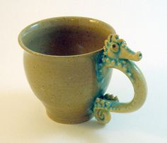 Seahorse Mug SALE Natural Speckled Clay Turquoise by skybirdarts, $39.00