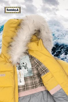 Bright down jacket. We had placed yachting elements into our decoration to emrace the adventurous spirit. #keentukey #downjacket #yellow #sea #yachting