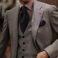 Glen Plaid 3p Suit by B&Tailor   #menswear #bespoke #bntailor #BnTailorshop