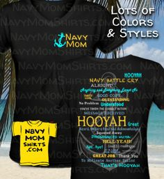 Navy Mom Hooyah Shirts and Hoodies with Anchor by NavyMomShirts.com