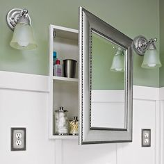 Big Lots- I got a mirror similar to this, (larger and with all mirrored interior, retails about $300) at Big Lots for $50. It had a hinge problem,, but the DH fixed that. It's just the right touch of sparkle for our bath remodel!