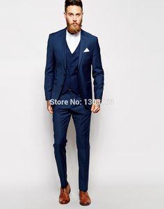 Custom Made Navy Blue Men Suit, Tailor Made Suit, Bespoke Men Wedding Suit, Slim Fit Groom Tuxedos For Men(Jacket+Pants+Vest))