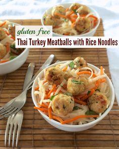Gluten Free Thai Turkey Meatballs with Rice Noodles | Teaspoonofspice ...
