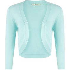 Precis Petite Aqua shrug (315 NOK) ❤ liked on Polyvore featuring tops, cardigans, blue, shrug, women, blue top, rayon tops, crewneck cardigan, aqua blue top and 3/4 sleeve cardigan