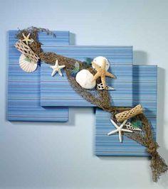 Summer On the Shore Wall Art - - Aktuelle Bilder - Sommerdeko - Seashell Art, Seashell Crafts, Art Sur Toile, Seashell Projects, Sea Crafts, Baby Crafts, Diy Canvas, Summer Crafts, Beach House Decor