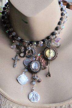 My Cheri Amour Antique Rosary Paris Theme Necklace Vintage French