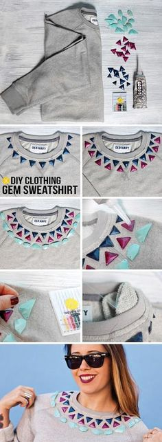 Neat way to spice up a really boring sweater. I used to do stuff like this with puff paint.