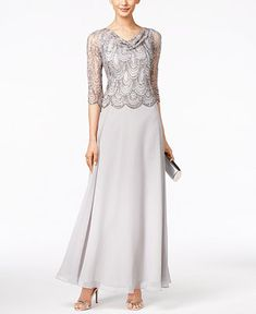 J Kara Embellished Cowl-Neck Gown - Mother of the Bride - Women - Macy's