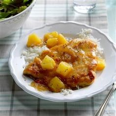 """Chicken with Pineapple Recipe -""""I'm always on the lookout for low-fat recipes that are scrumptious, too, like this one,"""" comments Jenny Reece of Lowry, Minnesota. In her dish, quick-cooking chicken breasts get wonderful sweet flavor from pineapple, honey and teriyaki sauce."""