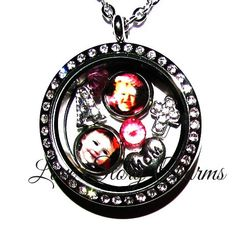 Picture Charm Stainless Steel 30mm Rhinestone by LoveStoryCharms
