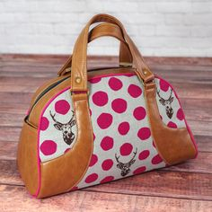 Swoon Sewing Patterns - Maisie Bowler Handbag - A modern twist on a retro design, this large handbag sewing pattern is the perfect fit for any Bombshell Betty.