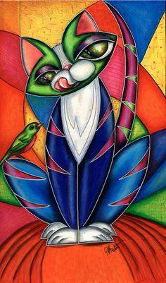 """Kitty Bird Watch"" Graphic/Illustration by Alma Lee posters, art prints, canvas prints, greeting cards or gallery prints. Find more Graphic/Illustration art prints and posters in the ARTFLAKES shop. Arte Pop, Pop Art, Art Fantaisiste, Inspiration Art, Cat Colors, Silk Painting, Whimsical Art, Oeuvre D'art, Rainbow Colors"
