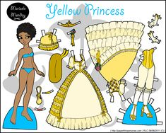 My Yellow Princess paper doll set in full color, though she can also be found in black and white. I also did a green princess and a pink princess.