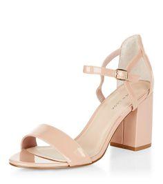 199d91b345109b Stone Patent Block Heel Sandals   New Look Chaussures New Look, Chaussures  Femme, Sandales