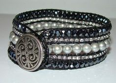 row beaded leather bracelet. Click