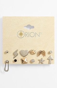 I am obsessed with mix and match earrings. These are so cute! Orion 'Princess' Stud Earrings (Set of 12)