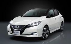 Download imagens Nissan Leaf, 4k, 2018 carros, veículos elétricos, novo em Folha, carros japoneses, Nissan