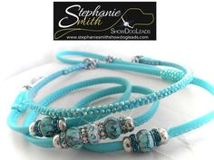 show lead with beads and crystal collar www.stephaniesmithshowdogleads.com