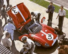 """Ferrrari 330P – Goodwood TT 1964"". Graham Hill watches as his mechanics work on the winning 330P in the 1964 Tourist Trophy. Among the most successful of Ferrari privateers in the 1960s was the British-based Maranello Concessionaires team under the auspices of Colonel Ronnie Hoare. The scarlet cars with ""Cambridge Blue"" stripe achieved notable success abroad but were mostly successful at Goodwood. Signed and numbered by Tim Layzell, limited edition 100, size 19.25"" x 15.25"" / 49cm x 40cm."
