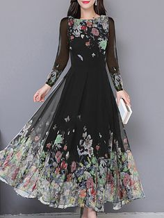 Round Neck Printed Maxi Dress - Look Fashion Elegant Maxi Dress, Chiffon Maxi Dress, Maxi Dress With Sleeves, Floral Maxi Dress, Dress Casual, Dress Red, Dress Black, Polka Dot Maxi Dresses, Cheap Maxi Dresses