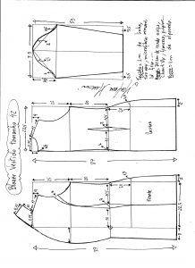 Esquema de modelagem de blazer vestido com manga de renda tamanho 42.