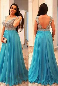 Cute Prom Dresses, A-Line/Princess V-neck Sleeveless Beading Sweep/Brush Train Chiffon Plus Size Dresses Shop plus size prom dresses and full figured formal gowns with an affordable price. Backless Prom Dresses, Prom Dresses Blue, Cheap Prom Dresses, Prom Party Dresses, Party Gowns, Dance Dresses, Chiffon Dresses, Dresses Dresses, Sleeveless Dresses