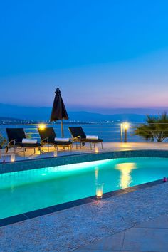 Imagine having #romantic evenings by the #pool in a #sea view #villa like this in Crete! #crete #travel #romance #holidays #vacation #island #candles #TheHotelgr