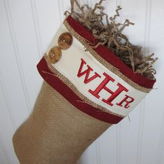 Burlap Personalized Christmas Stocking with red accents and 2 buttons - Style Cute Christmas Stockings, Burlap Christmas, Country Christmas, Christmas Decorations, Christmas Ideas, Holiday Fun, Holiday Decor, Personalized Stockings, Red Accents