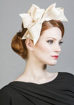 Rachel Trevor Morgan Millinery SS 2016   R1699 - Natural fine straw bows on Alice band