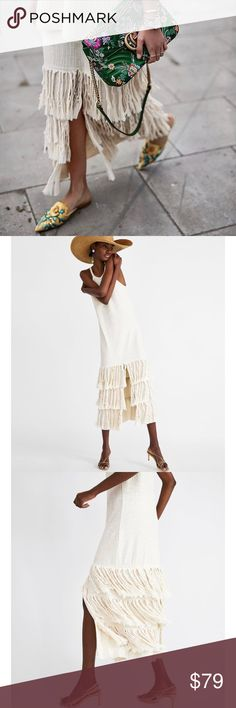 NWT Zara Midi Dress with Fringe One of my favorites this season! Grab it before they are gone! Zara Dresses Maxi