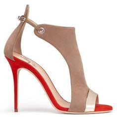 Women Suede Shoes, Peep Toe High Heels Sandals, Nude, Brown