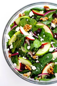 My favorite Apple Spinach Salad is made with tons of baby spinach and crisp apples, toasted nuts, soft cheese, and a zippy vinaigrette. Spinach Apple Salad, Apple Salad Recipes, Spinach Salad Recipes, Easy Salads, Healthy Salad Recipes, Vegan Recipes, Easy Meals, Cooking Recipes, Baby Spinach