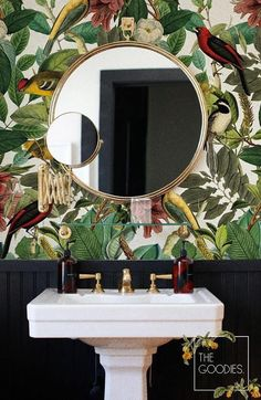 Botanical removable wallpaper Colors of nature wall mural! I love this look! Botanical removable wallpaper Colors of nature wall mural! I love this look! So … Botanical removable wallpaper Colors of nature wall mural! I love this look! Vintage Bird Wallpaper, Botanical Wallpaper, Botanical Bathroom, Black Wallpaper, Wallpaper Wallpapers, Tropical Bathroom Decor, Quirky Wallpaper, Botanical Interior, Tropical Interior