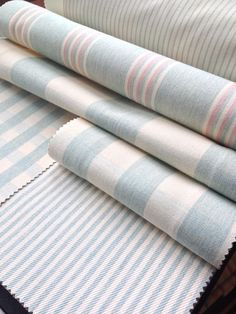 Collection: Co - Ordinated. Fabrics: Henley stripe mint/pink, Avon check mint, Suffolk check large mint, Suffolk check small mint, Candy stripe mint.
