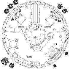 Specifications: 855 sq. ft. interior plus 91 sq. ft. loft, 2 bedroom, 1 bath with laundry, Footprint: 36' diameter Description: 10 meters (33') diameter is the maximum size of a round earthbag stru...