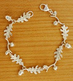 Silver Acorn Bracelet with Oak Leaf motif