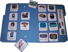 Print out these where questions and glue them to a file folder. Then, attach velcro to the answer so your child can match the questions with the answers over and over again. This game also includes activities to work on other speech and language skills. Speech Therapy Activities, Language Activities, Autism Activities, Autism Resources, Language Lessons, Speech Language Pathology, Speech And Language, Receptive Language, File Folder Games