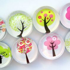 Tree Magnets - Set of Eight Glass Magnets in a Stuck Together Gift ......